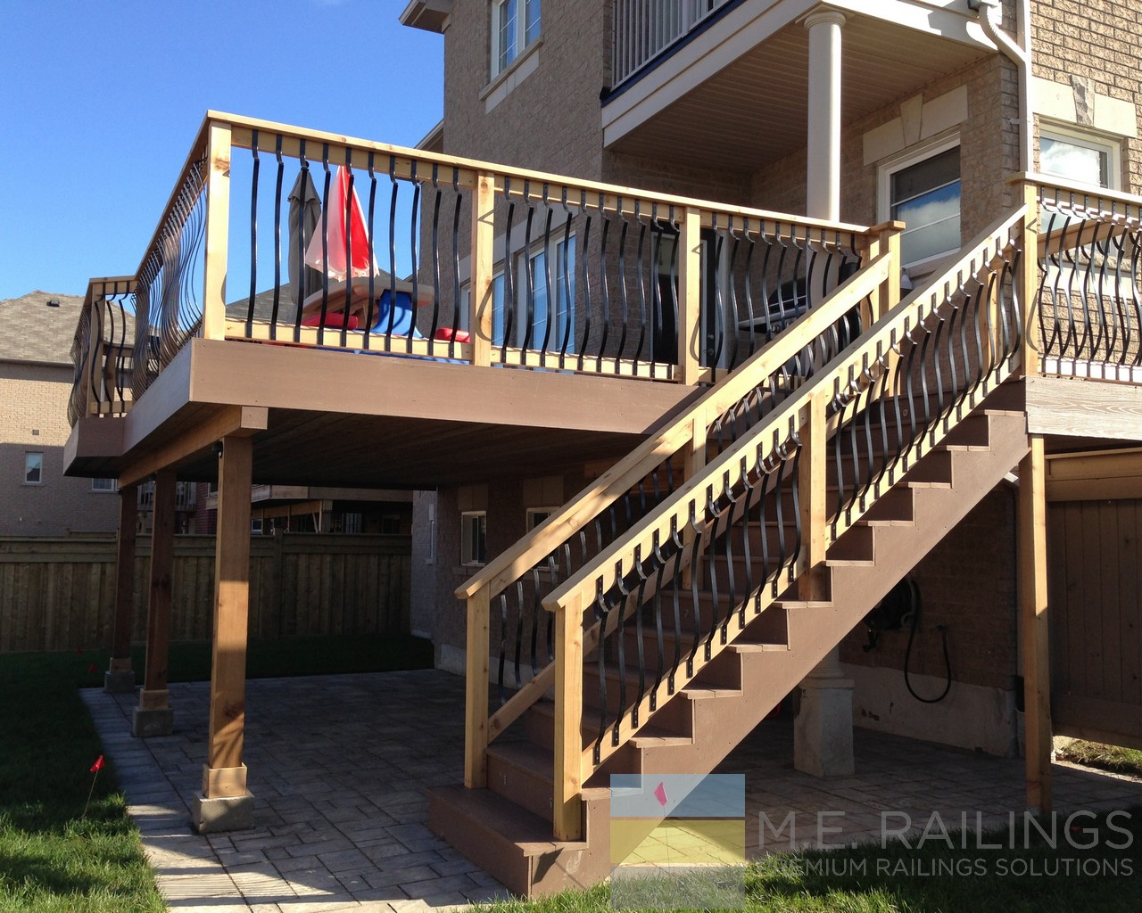 a cedar gallery balcony small railings of deck porch iron with wood wrought