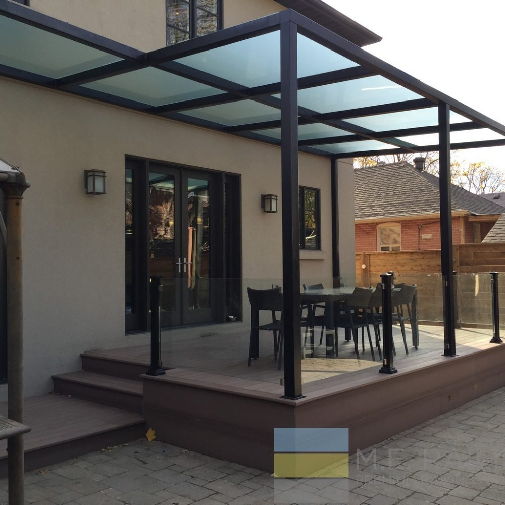 Aluminium Glass Railings with Pergola
