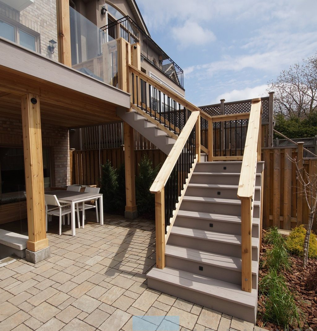 Wrought Iron Deck Railings With Glass And Cedar Toronto